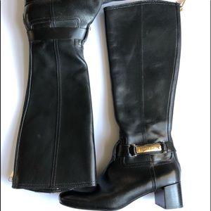 Tory Burch black leather  boots w/block heel. 5
